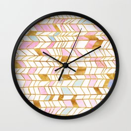 Abstract pattern gold and watercolor Wall Clock