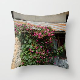 RUSTIC FRONT PORCH IN NEPALI BLOOM Throw Pillow