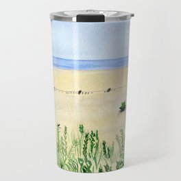 Assateague Island Watercolor Beach Painting Travel Mug