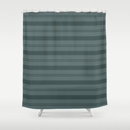 Night Watch Color of the Year Thick and Thin Horizontal Stripes on Juniper Berry Green Shower Curtain