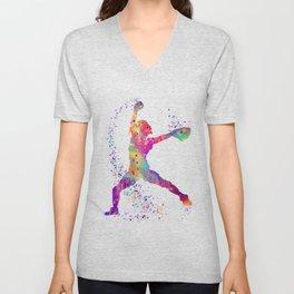 Girl Baseball Player Softball Pitcher Colorful Watercolor Sports Artwork Unisex V-Neck