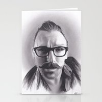 robert farkas Stationery Cards featuring Realism Charcoal Drawing of Artist Damon Lucas Farkas by Brittni DeWeese