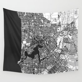 Perth Map Gray Wall Tapestry
