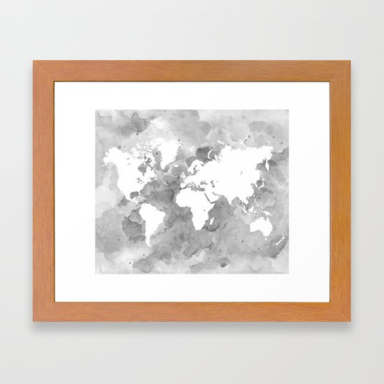 Design 49 grayscale world map framed art print by artbylucie society6 gumiabroncs Choice Image