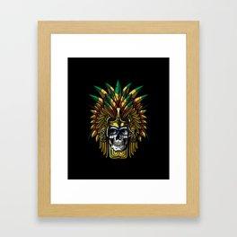 Aztec Warrior Skull Mask Native Indian Mexican Framed Art Print