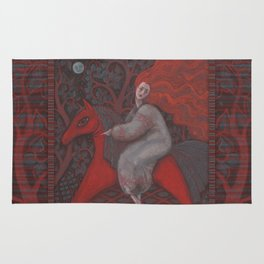 Red Horse, redhaired woman, magic night forest, folk art Rug