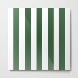 Deep moss green - solid color - white vertical lines pattern Metal Print
