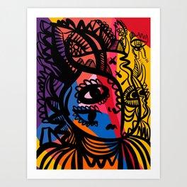 Portrait Graffiti Line Art with Pop Colours by Emmanuel Signorino  Art Print