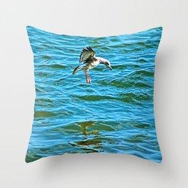 Seagull Coastal Bird Going for a Dip Throw Pillow
