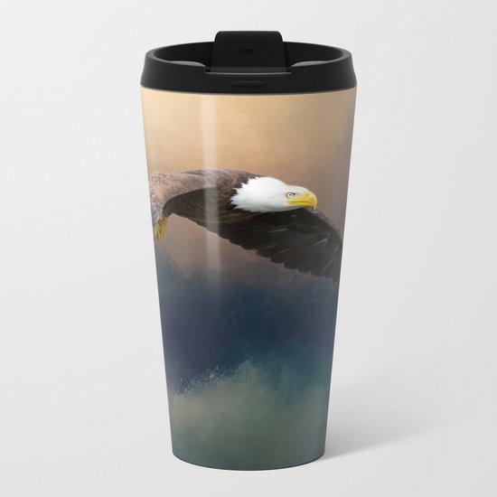 Painting flying american bald eagle Metal Travel Mug