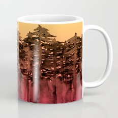 FOREST THROUGH THE TREES 12 Hot Pink Magenta Orange Black Landscape Ombre Abstract Painting Outdoors Mug