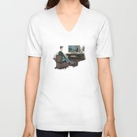 inside gaming V-neck T-shirts featuring Pixel Gaming by Steven Kaule