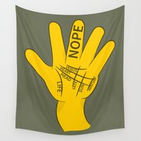 nope Wall Tapestries featuring Palmistry Nope by mailboxdisco