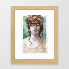 Flowers in your hair Framed Art Print