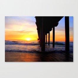 Scripps Pier - Sunset Surfing Canvas Print