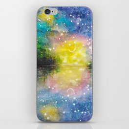 Crescent Moon Reflection Galaxy watercolor by CheyAnne Sexton iPhone Skin