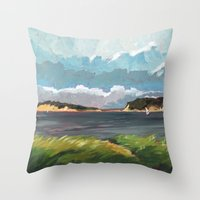 cape cod Throw Pillows featuring Wells Fleet Cape Cod by Gord Coulthart