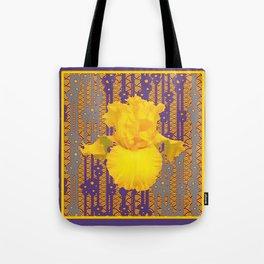 Puce Purple & Oriental Deco Style Large Yellow Iris Pattern Tote Bag
