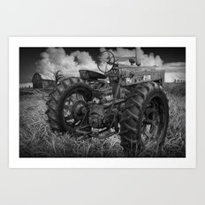 Abandoned Old Farmall Tractor in Black and White Art Print