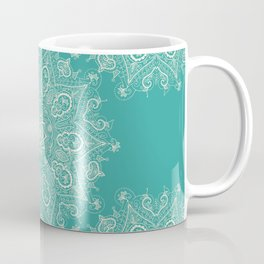 Teal and Lace Mandala Coffee Mug