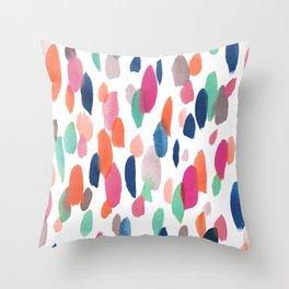 Watercolor Dashes Throw Pillow
