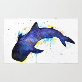Whale shark, watercolour Rug