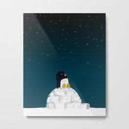 Star gazing - Penguin's dream of flying Metal Print