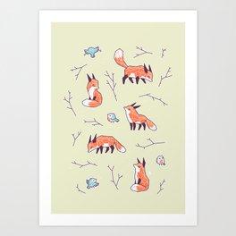 Fox and Bird Pattern Art Print
