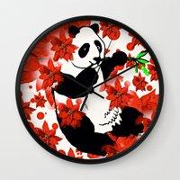 red panda Wall Clocks featuring Panda by Saundra Myles