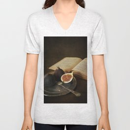An old books and fresh figs Unisex V-Neck