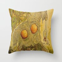 pasta Throw Pillows featuring Killer Pasta by Marcelo O. Maffei