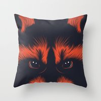 raccoon Throw Pillows featuring raccoon by CranioDsgn