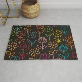 colorful flowers on black Rug