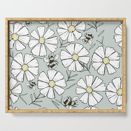 Bees and cosmos flowers Serving Tray