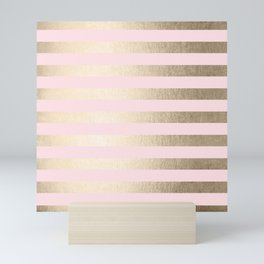 Stripes White Gold Sands on Pink Flamingo Mini Art Print