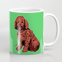 Labradoodle Illustration with Green Coffee Mug