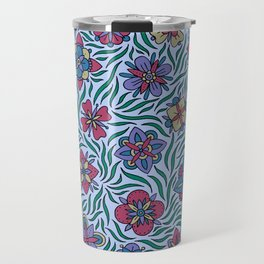 Summer Flowers Blue Travel Mug