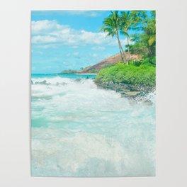 Aloha mai e Pā'ako Beach Mākena Maui Hawaii Poster