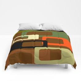 Mid Century Modern Earth Tone Cubes Print Comforters