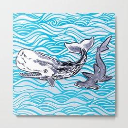 Underwater Best Friends Metal Print