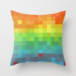Pixel Rainbow Throw Pillow