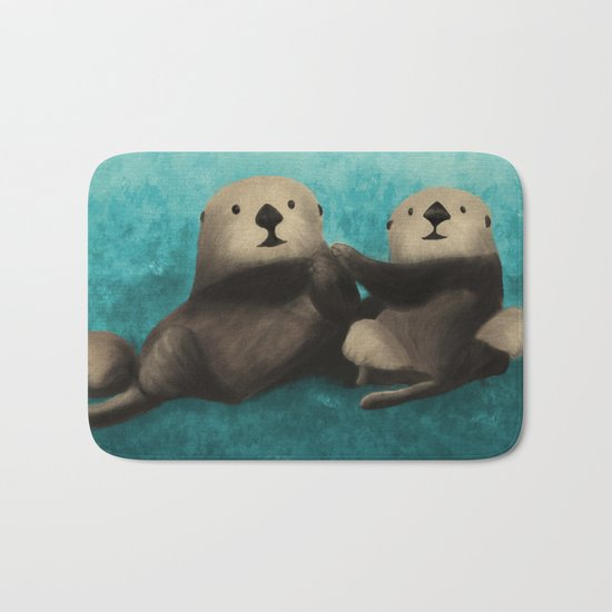 Sea Otters in Love Bath Mat