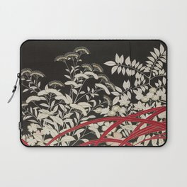 Kuro-tomesode with a Pair of Pheasants in Hiding (Japan, untouched kimono detail) Laptop Sleeve