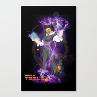 dbz Canvas Prints featuring DBZ Tesla by Hushy