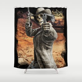 LETS DANCE Skeleton Western Gunslinger Cowboy Print Shower Curtain