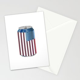 Beer Can American Flag- Proud American Patriot Cool Celebration Cool Gift Stationery Cards