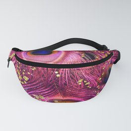Pink Peacock Feathers Fanny Pack