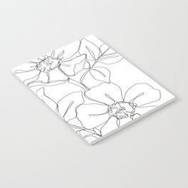 Floral one line drawing - Rose Notebook