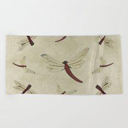 Parchment Dragonflies Beach Towel