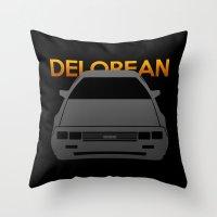 delorean Throw Pillows featuring DeLorean DMC–12 by Vehicle